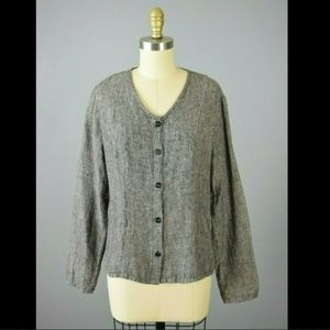 Flax Linen Gray Button Up Top PS